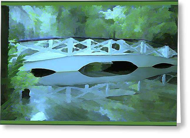 Blue Bridge In Magnolia Greeting Card by Mindy Newman