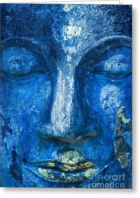 Greeting Card featuring the photograph Blue Buddha  by Luciano Mortula