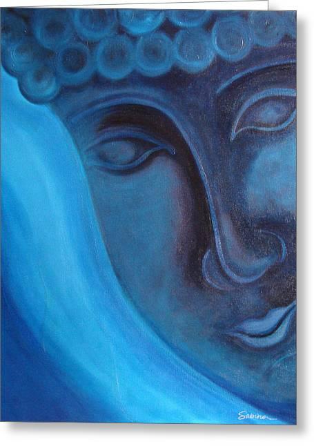 Blue Buddha Greeting Card by Sabina Espinet