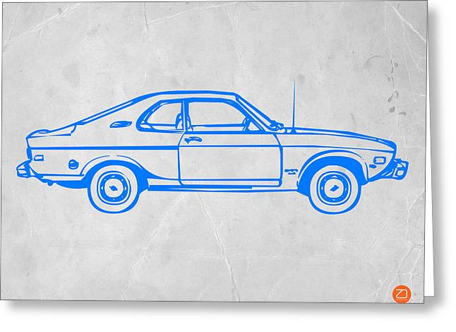 Blue Car Greeting Card by Naxart Studio