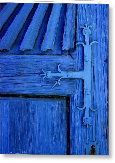 Blue Church Door Greeting Card by Jim Pavelle