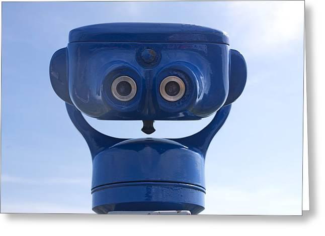 Blue Coin-operated Binoculars Greeting Card by Bernard Jaubert