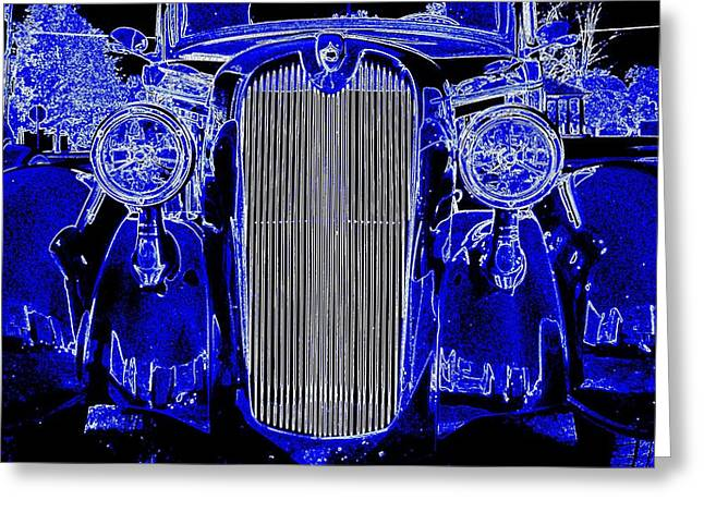 Blue Coupe Greeting Card by J R Seymour