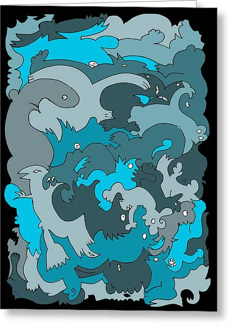Blue Creatures Greeting Card