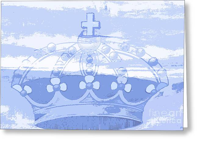 Blue Crown Children's Art Greeting Card by ArtyZen Studios