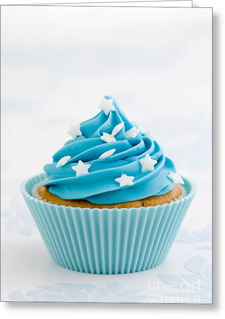 Blue Cupcake Greeting Card by Ruth Black