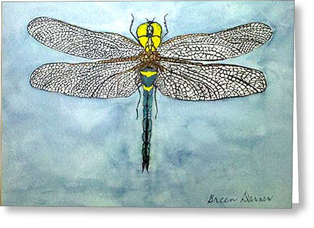Greeting Card featuring the painting Blue Darner by Alethea McKee