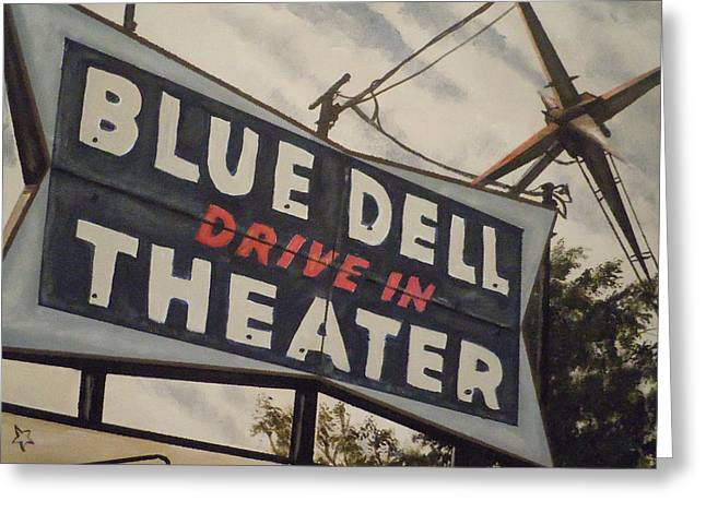 Blue Dell Drive In Theater Greeting Card by James Guentner