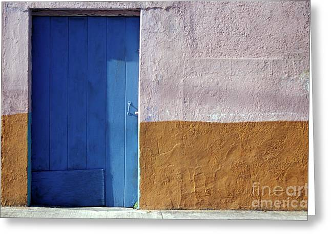 Greeting Card featuring the photograph Blue Door Cozumel Mexico by John  Mitchell