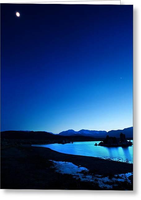Blue Dusk Mono Lake Greeting Card by Sylvia J Zarco