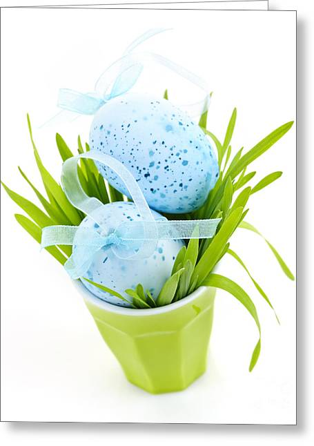 Blue Easter Eggs And Green Grass Greeting Card