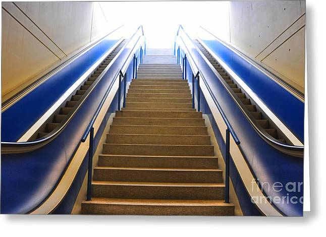 Blue Escalators Greeting Card by Mats Silvan