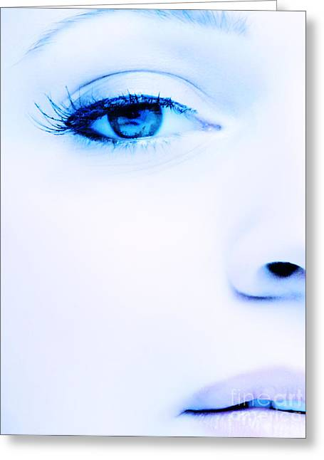 Blue Eyes Greeting Card by Iryna Shpulak