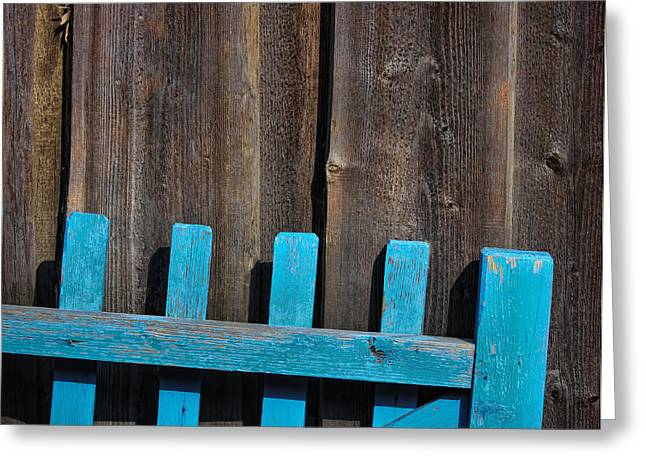 Blue Fence Greeting Card