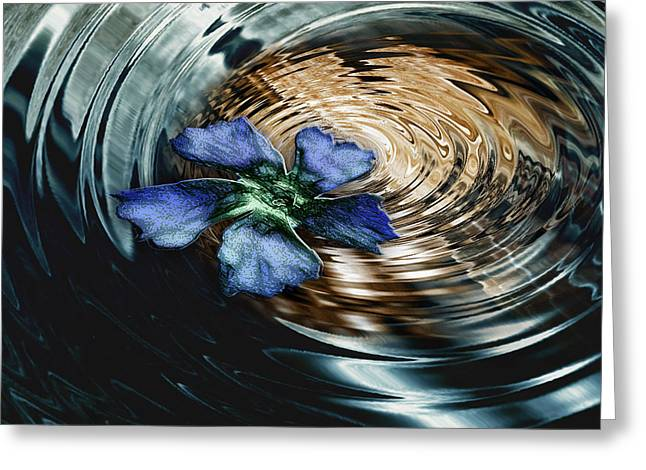 Blue Flower Swirl Greeting Card by Danuta Bennett