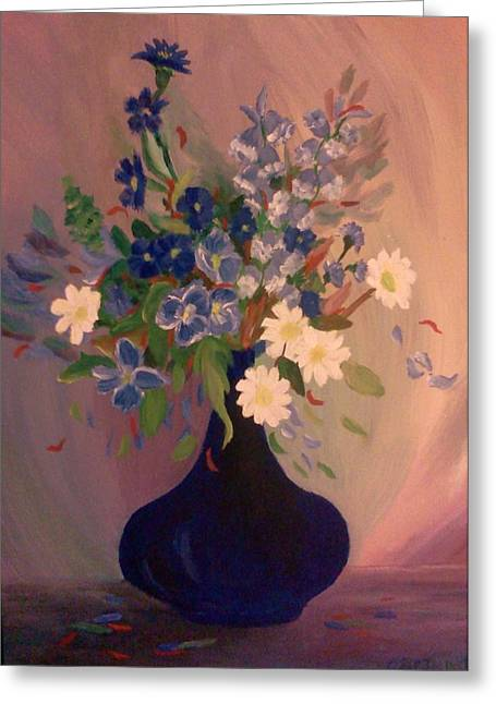 Greeting Card featuring the painting Blue Flowers 2 by Christy Saunders Church