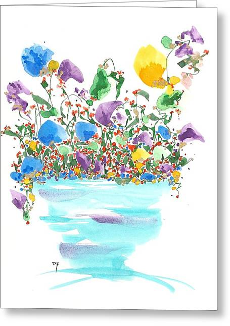 Blue Flowers And Vase Greeting Card