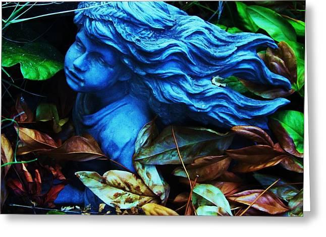 Blue Girl Greeting Card by Todd Sherlock