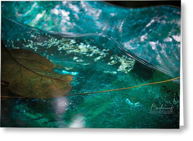 Blue Glass Bird Bath Greeting Card by Robin Lewis