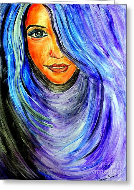 Blue Hair Greeting Card by Amanda Dinan