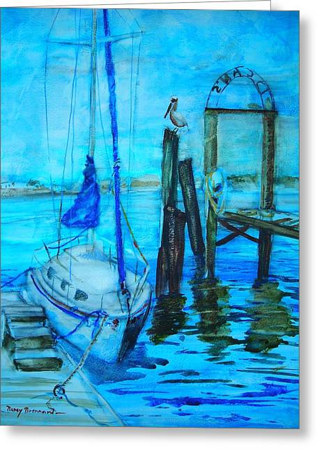 Blue Harbor Greeting Card by Nancy Brennand