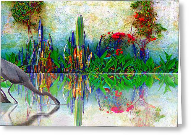 Blue Heron In My Mexican Garden Greeting Card by John  Kolenberg