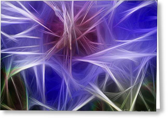 Blue Hibiscus Fractal Panel 2 Greeting Card