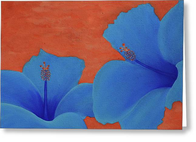 Blue Hibiscus Greeting Card by Nick Flavin