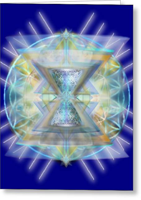 Blue High-starred Chalices On Flower Of Life Greeting Card