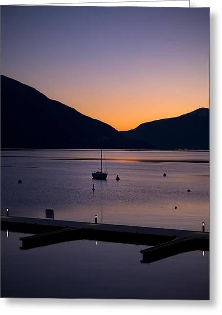 blue hour - Lake Maggiore Greeting Card