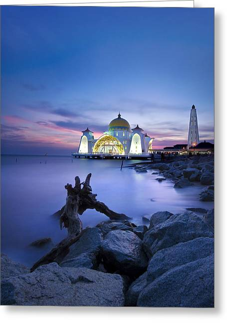Blue Hour At The Mosque Greeting Card