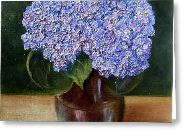 Blue Hydrangea  Greeting Card by Susan Dehlinger