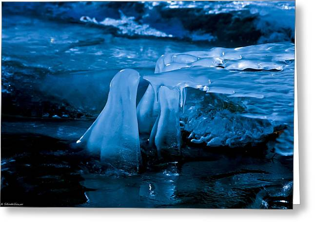 Blue Ice Greeting Card by Mitch Shindelbower
