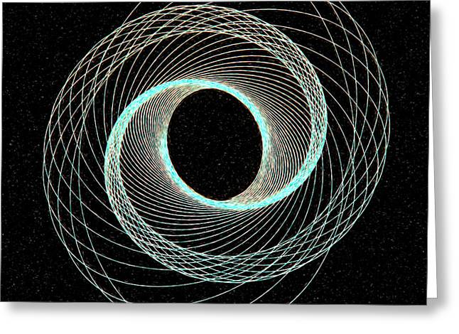 Blue Inner Circle Greeting Card by James Steele