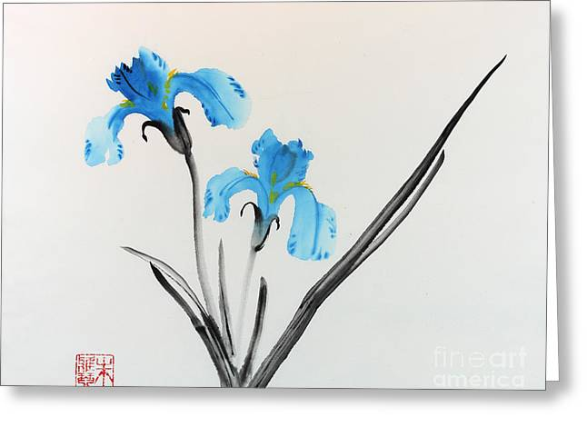 Blue Iris I Greeting Card by Yolanda Koh