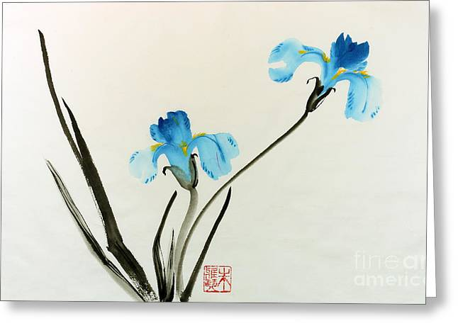 blue iris II Greeting Card by Yolanda Koh