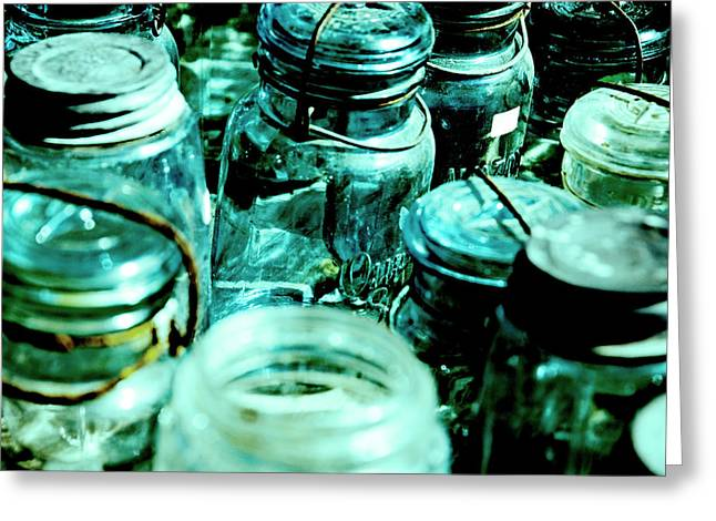 Blue Jars I Greeting Card by Laurianna Murray