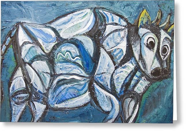Blue Jeweled Cattle Greeting Card by Kazuya Akimoto