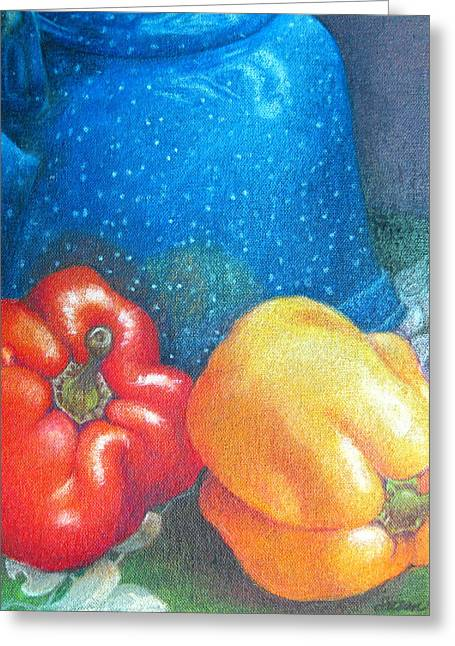 Blue Kettle With Peppers Greeting Card