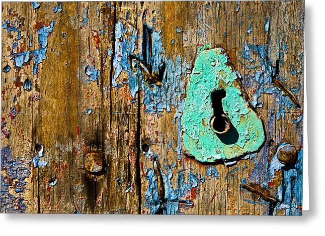 Blue Keyhole Greeting Card by Mark Weaver