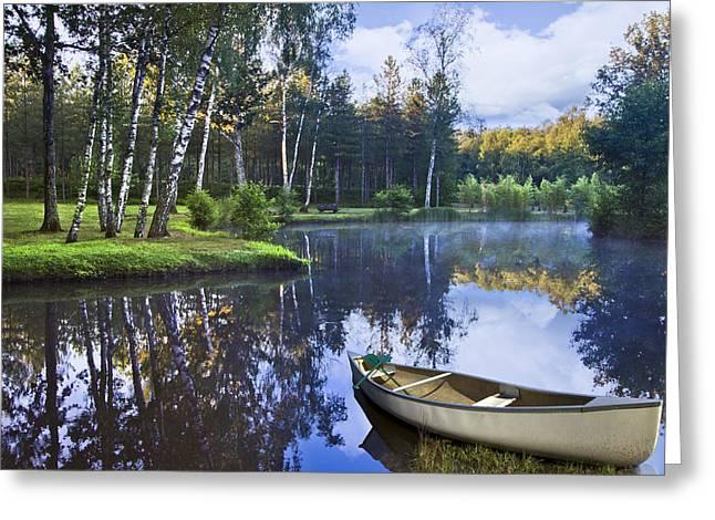 Blue Lake Greeting Card by Debra and Dave Vanderlaan