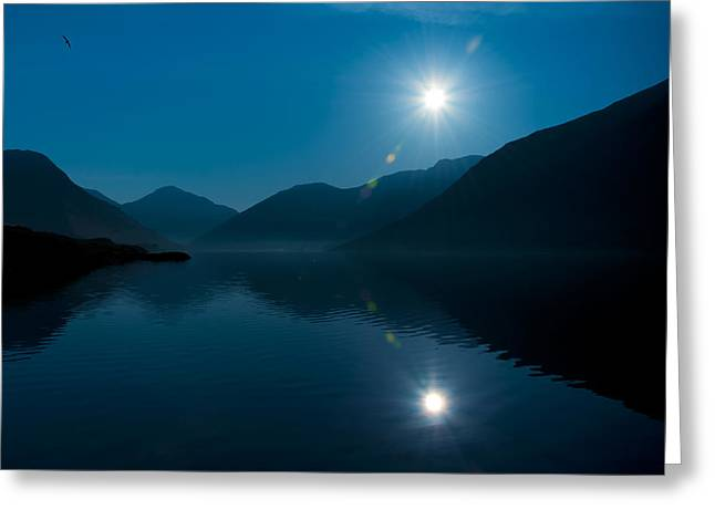 Blue Lake Greeting Card by Svetlana Sewell