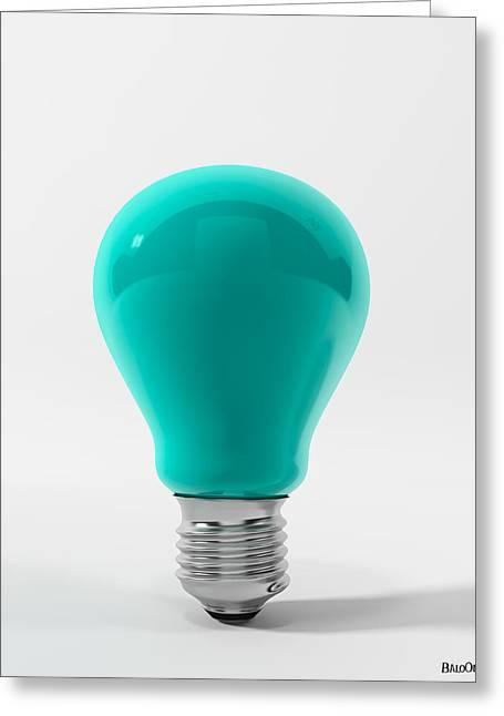 Blue Lamp Greeting Card by BaloOm Studios