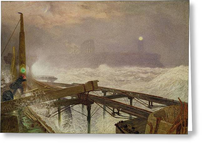 Blue Lights - Teignemouth Pier Greeting Card by Alfred William Hunt