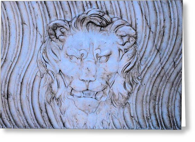 Blue Lion Greeting Card by