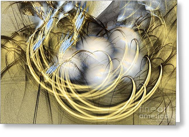 Blue Lullaby - Fractal Art Greeting Card by Sipo Liimatainen
