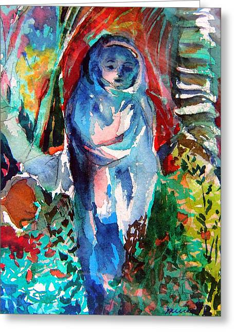 Blue Madonna Greeting Card by Mindy Newman