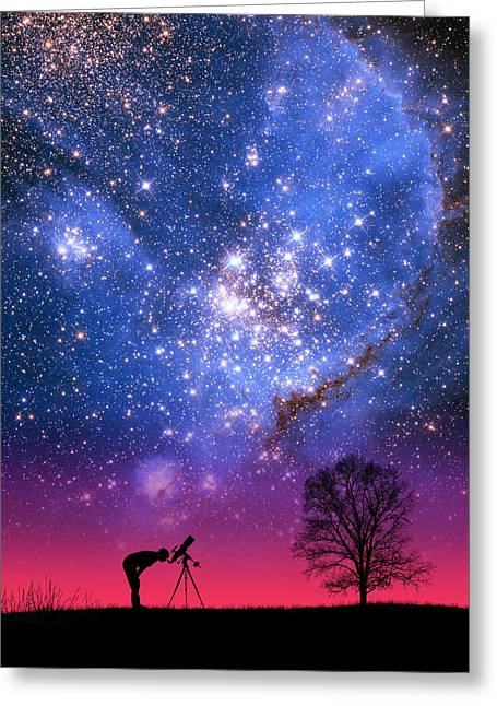 Blue Magellanic Cloud Greeting Card by Larry Landolfi