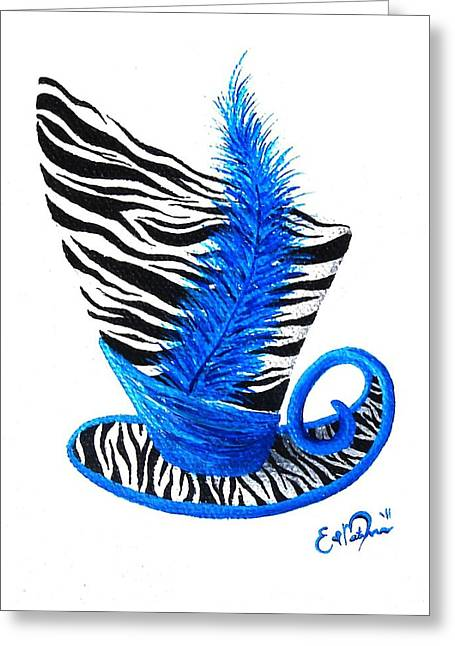 Greeting Card featuring the painting Blue Magic Hat by Oddball Art Co by Lizzy Love