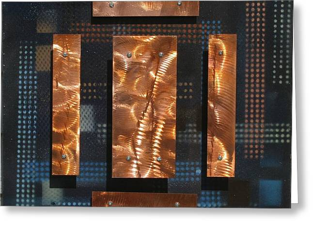 Blue Metal 4 Greeting Card by James Johnson